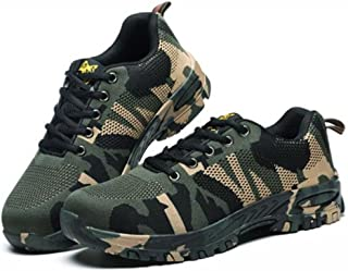 RuiSen Unisex Camouflage Labor Insurance Shoes, Work Safety Shoes Puncture Proof Safety Shoes Outdoor Shoes with Lace-up Breathable Wear-Resistant Anti-Slip