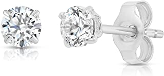 14k White Gold Solitaire Round Cubic Zirconia Stud Earrings with Gold butterfly
