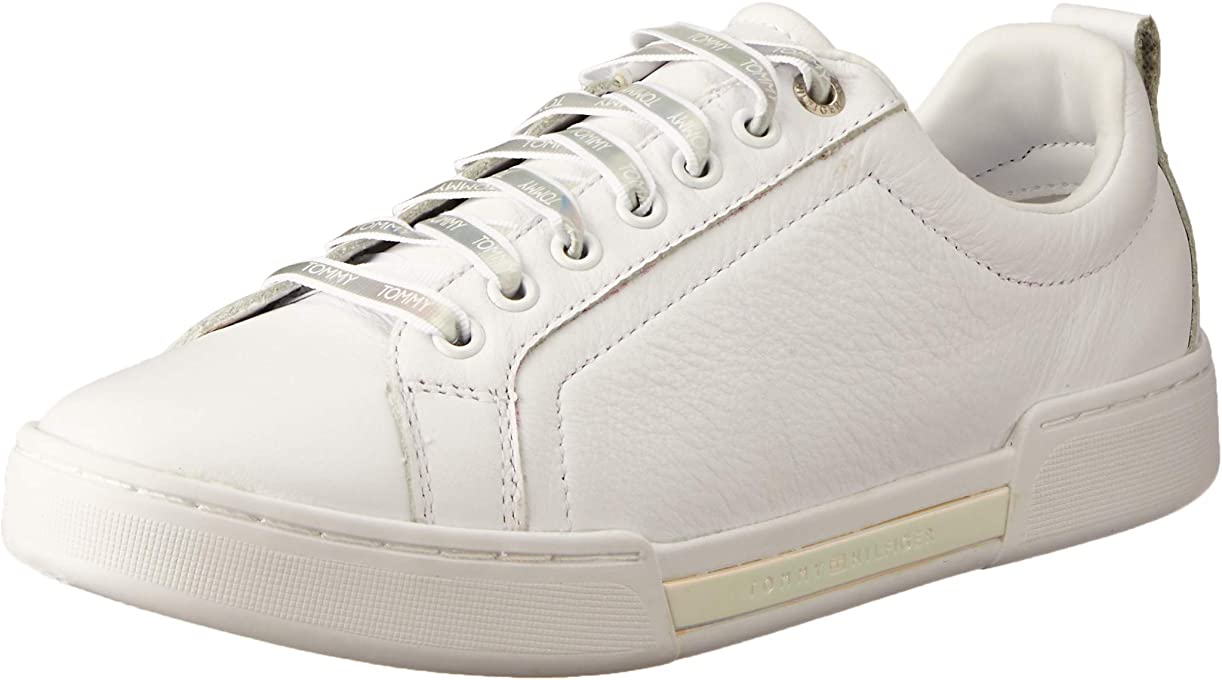 Tommy Hilfiger Women's Iridescent Lace-Up Trainers 100% Leather