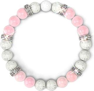 HEALING TRUST - Rose Quartz Bracelet For Women, Authentic Rose Quartz Crystal + White Howlite + White Lava Stone Aromather...
