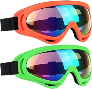 Ski Goggles 2 Packs, Multicolor Lenses Snow Goggles with Wind Dust UV 400 Protection for Women Men Kids Girls Boys Winter Snowboard Snowmobile Skiing