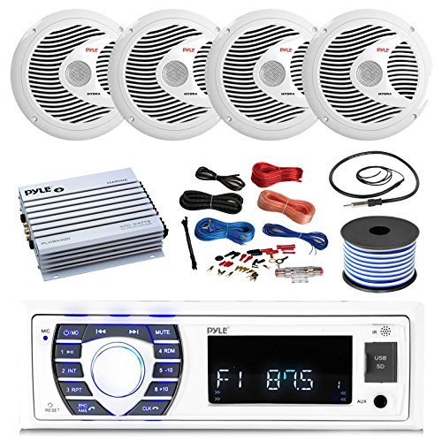 Pyle 16-25' Bay Boat Bluetooth Marine Stereo Receiver, 4 x 150W 6.5'' Marine Speakers (White), 4 Channel Waterproof Amplifier, Amp Install Kit, 18 Gauge 50 FT Speaker Wire, Antenna