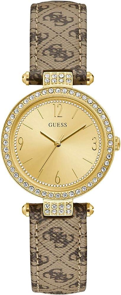 Guess, orologio per donna,cassa in acciaio lucido ip gold con cristalli  e cinturino in pelle W1230L2
