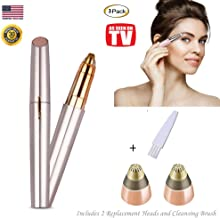 Eyebrow Hair Remover For Women, STOUCH Eyebrows Hair Removal Portable Electric Trimmer Razor Shaper for Smooth Finishing and Painless Touch With 2 Extra Replacement Heads, As Seen on TV, Gold Rose