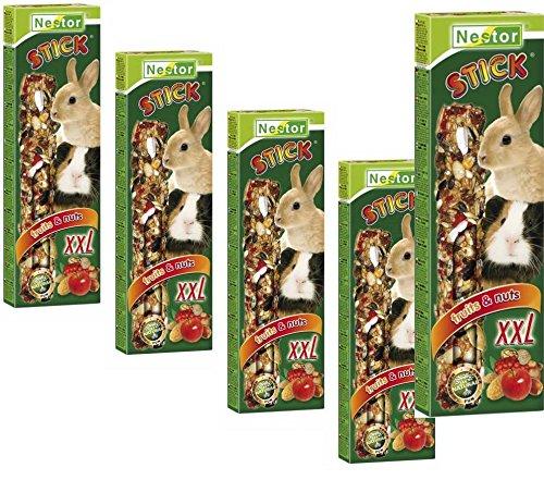 NESTOR 5X Meerschweinchen Kaninchen Futter Leckerbissen 2 Pack Knabberstangen XXL Früchte Nüsse Haferflocken Hirse Leinsam