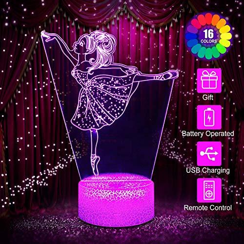 Ballett Mädchen Nachtlicht für Kinder, 3D Licht Lampe 16 Farben ändern mit Fernbedienung, Urlaub und Geburtstags Geschenke für Kinder