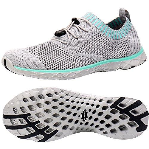 ALEADER Women's Adventure Aquatic Water Shoes Gray/Aqua Sky 10 D(M) US