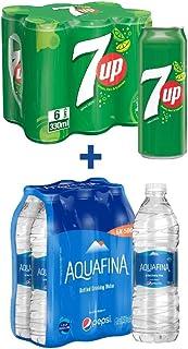7UP Carbonated Can Soft Drink, 6 x 330 ml + Aquafina, 6 x 500 ml