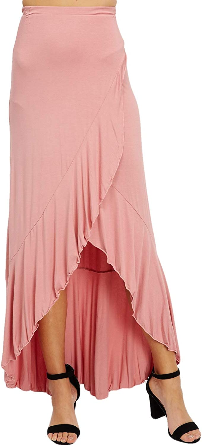 Women's Casual Maxi Long Skirt - High Waisted Solid Draped Soft Comfort Lounge Elastic Waistband