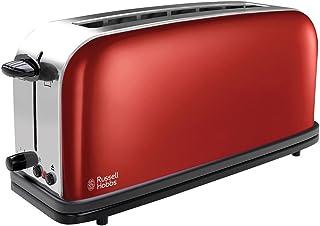 Russell Hobbs Toaster Grille-Pain, Fente Large Spécial Baguette, 6 Niveaux de Brunissage, Décongèle, Réchauffe - Rouge 213...