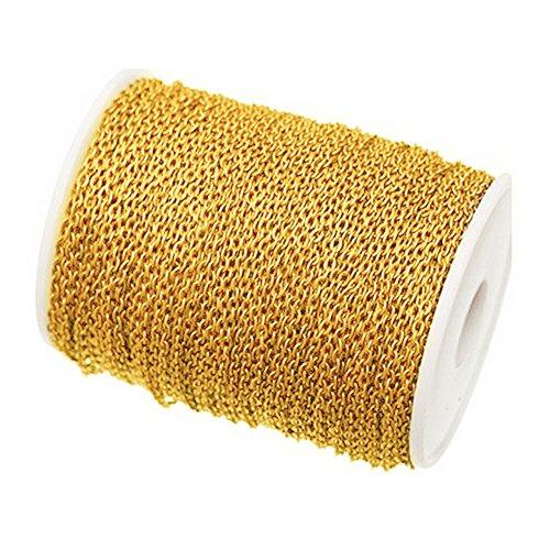 Danigrefinb - Ciondoli per gioielli fai da te, lunghezza 5 m, con cavo piatto, 3 x 4 mm 4x3 Mm dorato