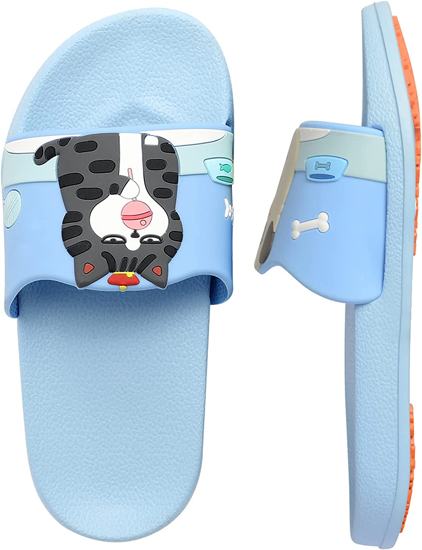 BOPU 3-8 Years Girls Slide Sandals, Cute Dog & Cat Non-Slip Girls Slides Boys Slides (Little Kids/Toddler)