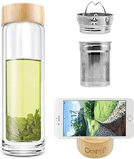 COMI Tea Glass Bottle Double Wall Glass Borosilicate with Infuser Bottle for Green Tea Coffee Fruit Flower Tea Double Mesh Filter 400ml,14 OZ