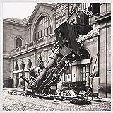 1art1 Trenes Póster Impresión Artística con Marco (Plástico) - Ruina del Tren En La Estación De Montparnasse, París, Francia, 1895 (40 x 40cm)
