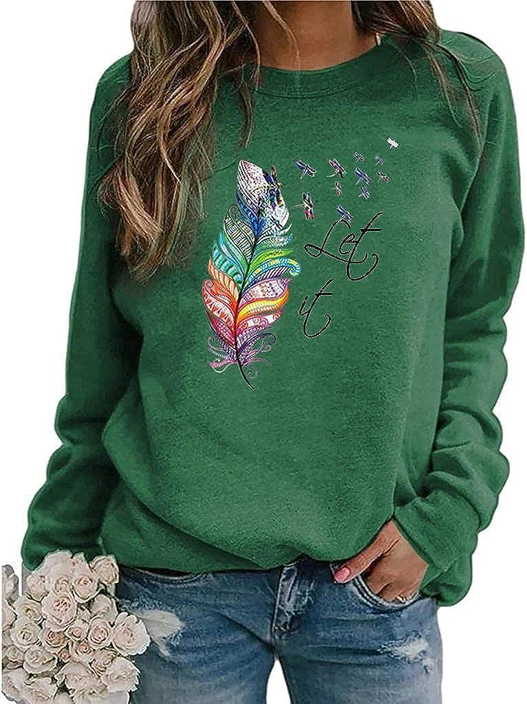 POLLYANNA KEONG Womens Long Sleeve Tops,Women's Teen Girls Cute Long Sleeve Crewneck Sweatshirts Tunic Blouses