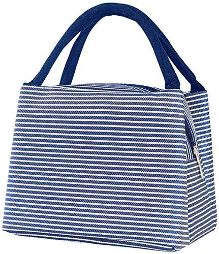Bolsa de almuerzo para niña con bolsa de almuerzo pequeña color azul blanco a rayas bolsa de almuerzo bolsa de mujer con aislamiento para hombres/niños/niñas/niños almuerzo