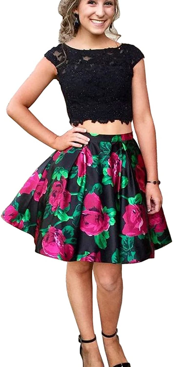 XJLY 2 Piece Cap Sleeve Applique Keyhole Floral Printed Homecoming Dress