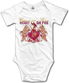 Unisex Baby's Heart On Fire Bodysuits Romper Short Sleeved Onesies