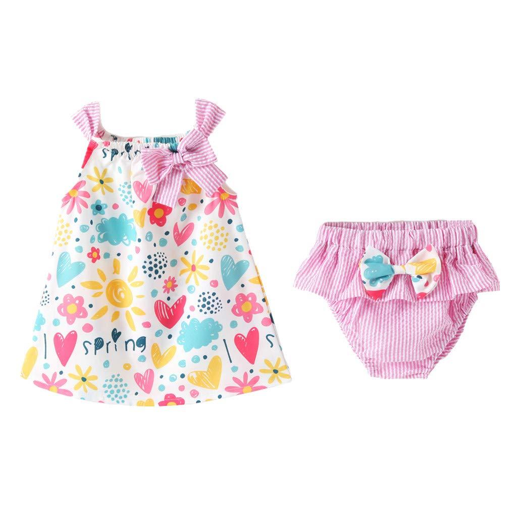 Riverdalin Toddler Baby Girls Outfits Sleeveless Bowknot Dot Print Princess Dresses Sun Protection Straw Hat for Summer