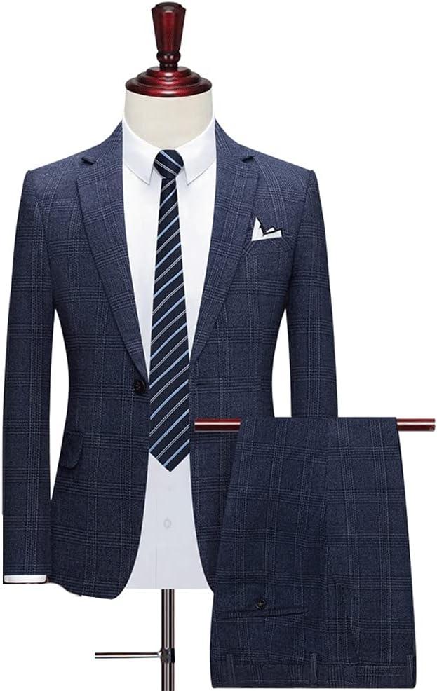 JJWC Men's Suits Groom Wear Tuxedos Custom Made 3-Piece Wedding Suits Slim (Jacket+Pant +Vest) (Color : Blue, Size : XL for 65 to 70 kg)
