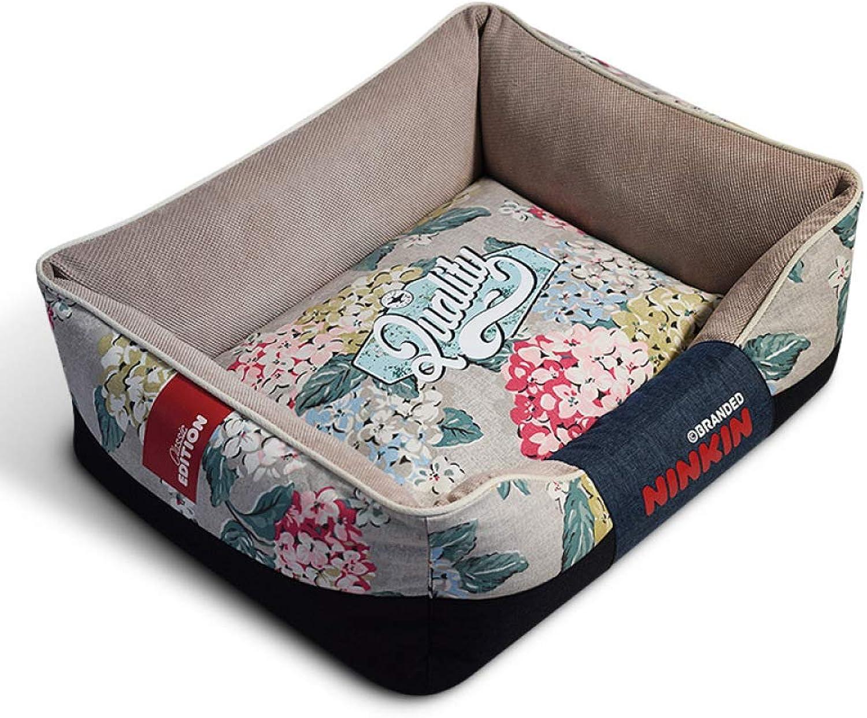 QJKai Pet Supplies Cut Velvet Canvas Square Kennel pet nest pad cat Bed