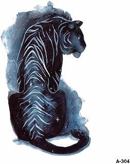 WYUEN 5 hojas acuarela tigre tatuaje impermeable temporario tatuaje adhesivo para mujeres hombres falso cuerpo arte