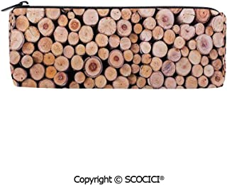 SCOCICI Cylinder Stationery Portable Stylish Lightweight Pencil Bag Mass of Wood Log Forest Tree Industry Group of Cut Lumber Circle Stack Image Practical Durable Zipper Pencil Case,8x3x3 inch