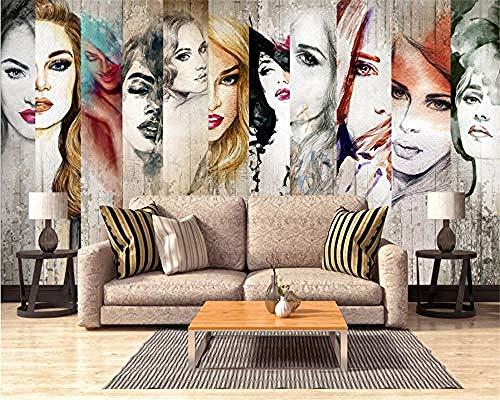 XHXI Mural de fotos grande Papel tapiz 3D Modelo de belleza vintage Decoración de fondo de grano de madera Pap Pared Pintado Papel tapiz Decoración dormitorio Fotomural sala sofá mural-300cm×210cm