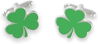 Irish Flag/Green Enamel Shamrock Cufflinks Shiny Silver