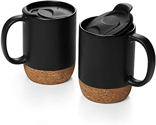 DOWAN 15 oz Coffee Mug Sets, Set of 2 Large Ceramic Mugs, with Insulated Cork and Splash Proof Mug Lid, Matte Grey