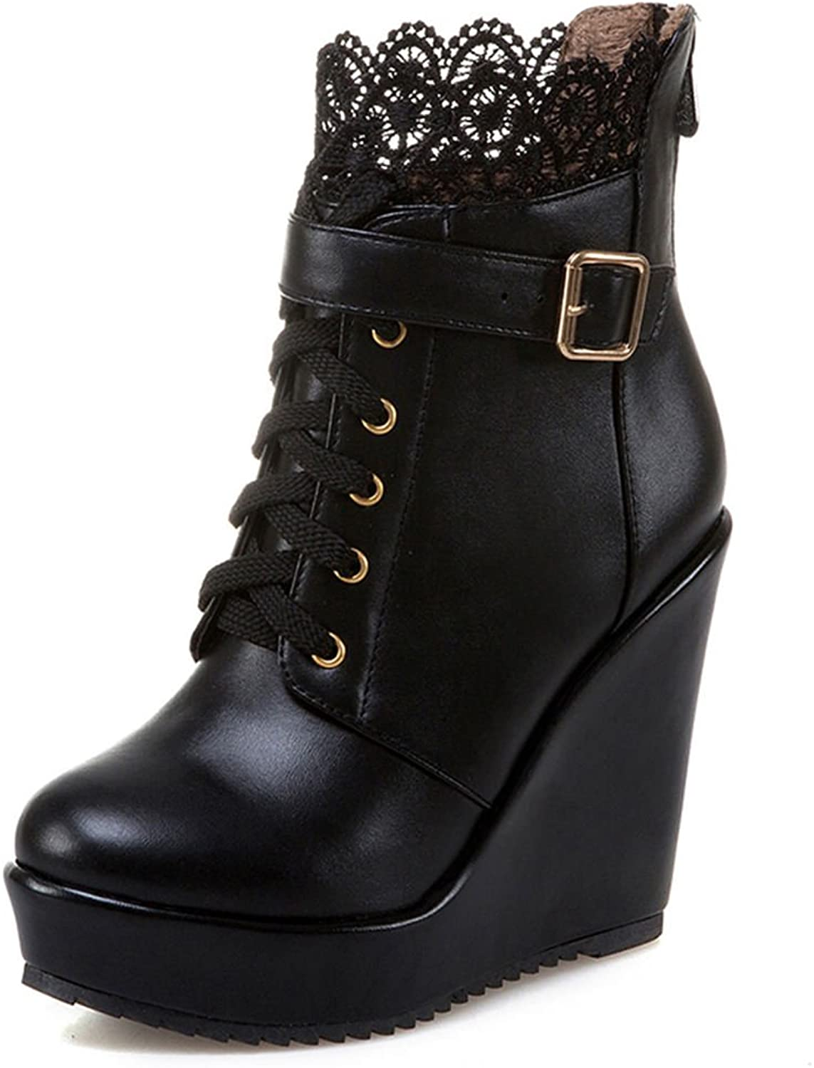 SaraIris Lace Buckle Wedges Platform Solid Ankle Boots for Women