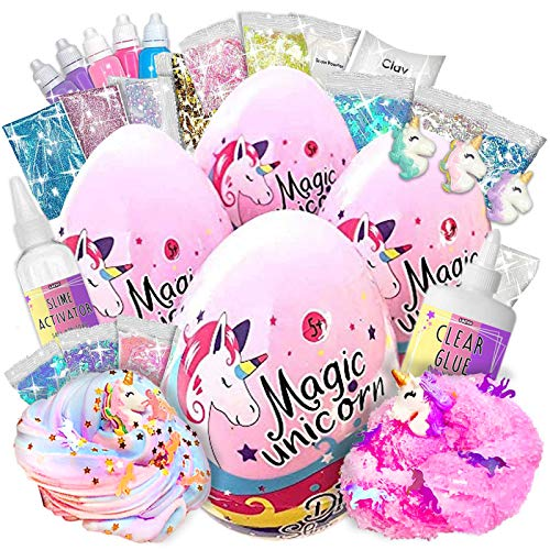 Laevo 4 Unicorn Slime Kits for Girls - [4 Pack] All-Inclusive Surprise DIY Slime Making Kits with 5 Secrets - Includes Glue, Activator and Magic Add ins - Butter, Cloud, Glitter and Stardust Slime
