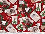 ab 1m: Weihnachts-Dekostoff, Weihnachtsgeschenke, rot,