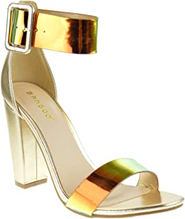 801d21413c BAMBOO Frenzy 94s Metallic Iridescent Womens Chunky Heel One Banded  Platform Dress Sandals