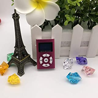 Alician Portable USB Mini MP3 Music Player Screen Support LCD Sport Music Player On The Go Pink Card Bare Metal Without Ac...