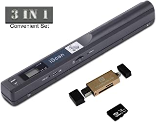 Portable Scanner 900 DPI A4 Document Scanner Handheld for Business,Photo,Picture,Receipts,Books,JPG/PDF Format Selection, Micro SD Card Hand Scanner (Scanner+i-Card Reader+32G Memory Card)