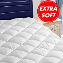 Meritlife Queen Mattress Pad Cover Cooling Mattress Topper 300TC Cotton Top Pillow Top Bed Topper (8-21 inch Fitted Deep Pocket)