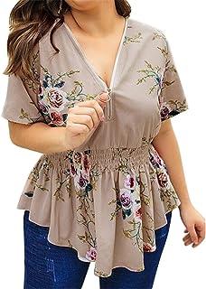 FRPE Women Plus Size Print Summer V Neck Short Sleeve Top T-Shirt Blouse