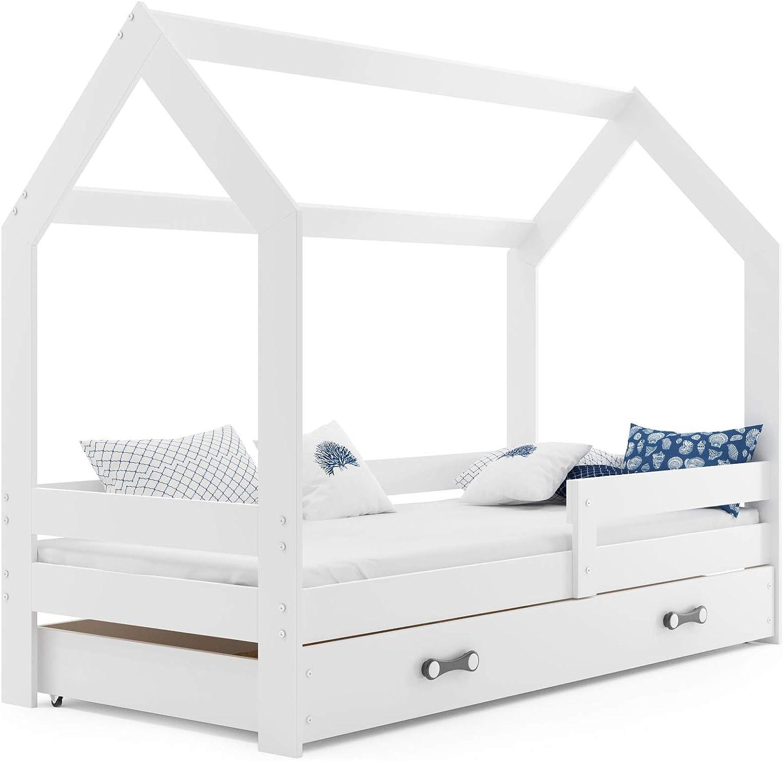 Cama infantil CASA 160x80 de mader de pino, color blanco ...