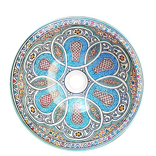L'ORIENT Interior Orientalisches Waschbecken   Vintage   Ø:40cm   handbemaltes marokkanisches Waschbecken aus der Königsstadt FES