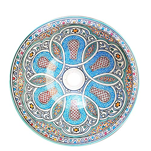 L'ORIENT Interior Orientalisches Waschbecken | Vintage | Ø:40cm | handbemaltes marokkanisches Waschbecken aus der Königsstadt FES