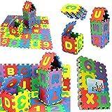 JUSHINI 36 Stück Puzzlematte für Babys Kinder Spielmatte Nummer Alphabet Puzzle Schaum Lernmatte Kinderspielmatte Schaumstoffmatte Mathematik Lernspielzeug Geschenk, 6x6cm