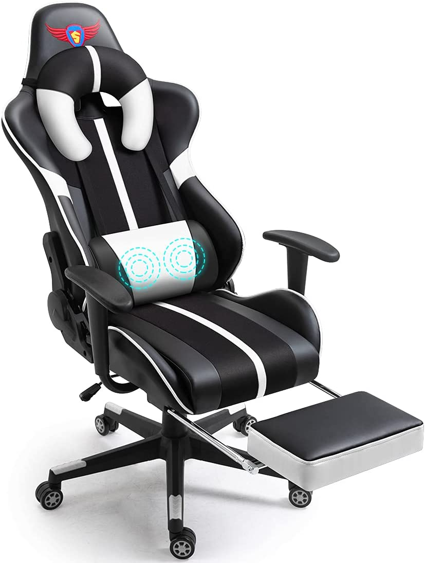 WQSLHX White Gaming Chair Max 76% OFF with and Fixed price for sale Swivel Massage Recl Footrest