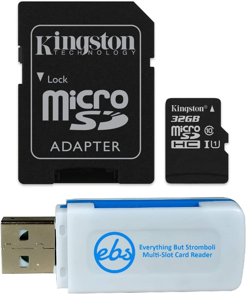 Kingston 32GB SDHC Micro Canvas Select Memory Card and Adapter Works with Samsung Galaxy A10, A20, A70 Cell Phone (SDCS/32GB) Bundle with (1) Everything But Stromboli MicroSD and SD Card Reader