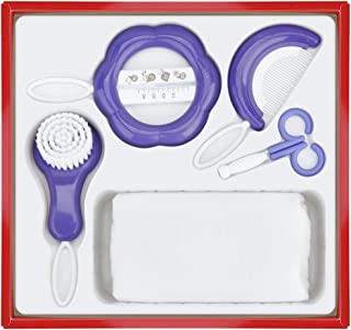 Baby Grooming Healthcare Kits/New Born Babies Basics Care Essentials 5 Set Consist of Thermometer Scissors Comb Brush Cotton Towl Purple