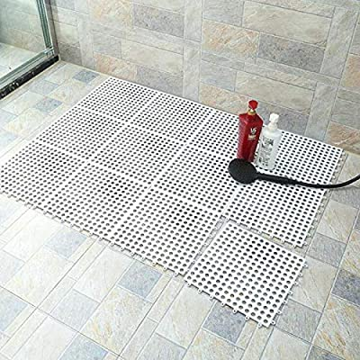 10PCS Interlocking Rubber Floor Tiles with Drain Holes DIY Size Bathroom Shower Toilet Floor Tiles Mat Interlocking Massage Soft Cushion Floor Tiles for Indoor/Outdoor (White) -11.8 x 11.8 in