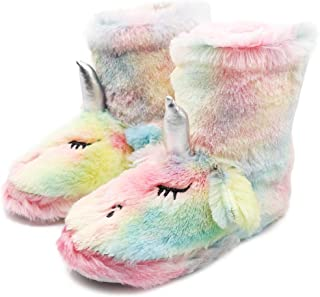 Boy Girls Unicorn Rainbow Slippers Winter Warm Plush Fleece Colorful Slip-on Booties Indoor & Outdoor (Toddler/Little Kid/Big Kid)