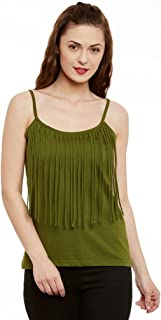 Miss Chase Womens Maroon Spaghetti Top