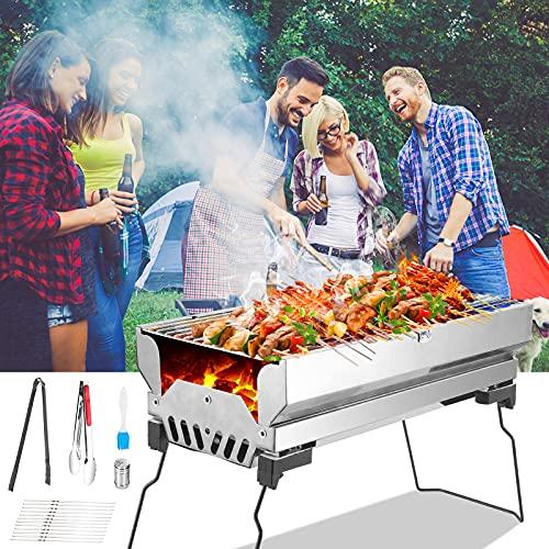 TELAM Barbacoa de Carbón Portátil BBQ Plegable Barbacoa Asador Al Aire Libre Parrillada De Acero Inoxidable Jardín Cocina Camping Senderismo Picnic Familia Amigos Reunión