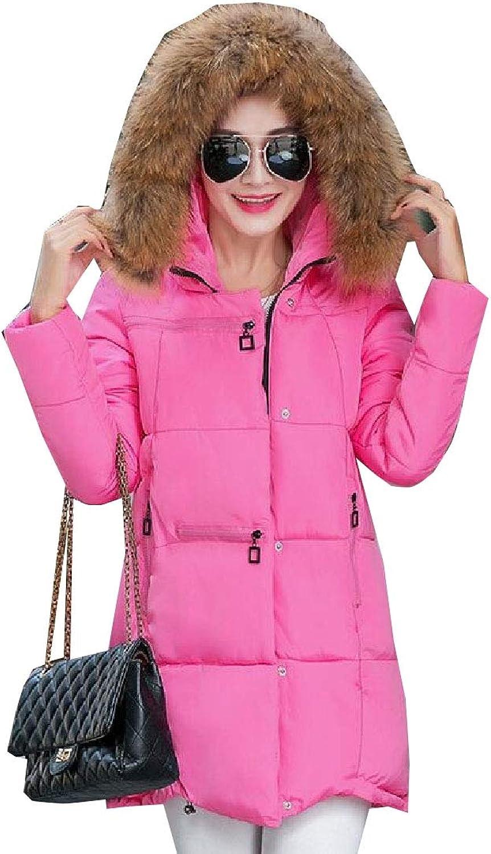 Esast Women MultiPockets Linen Cotton Bread Fur Collar Hood Fluffy Coats Coat